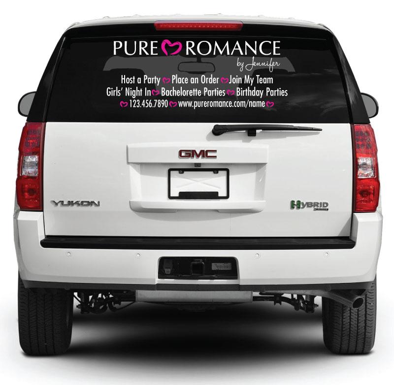 Pure romance rear window decal